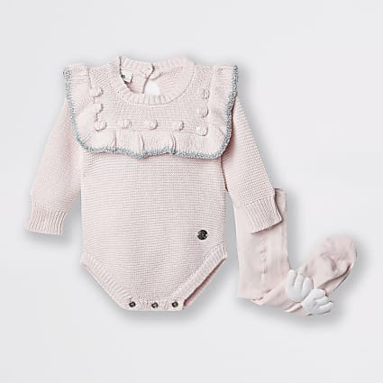 Baby pink bobble baby outfit