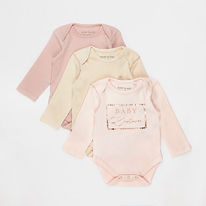 Baby pink bodysuits 3 pack