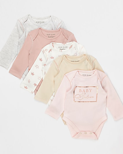Baby pink bodysuits 5 pack