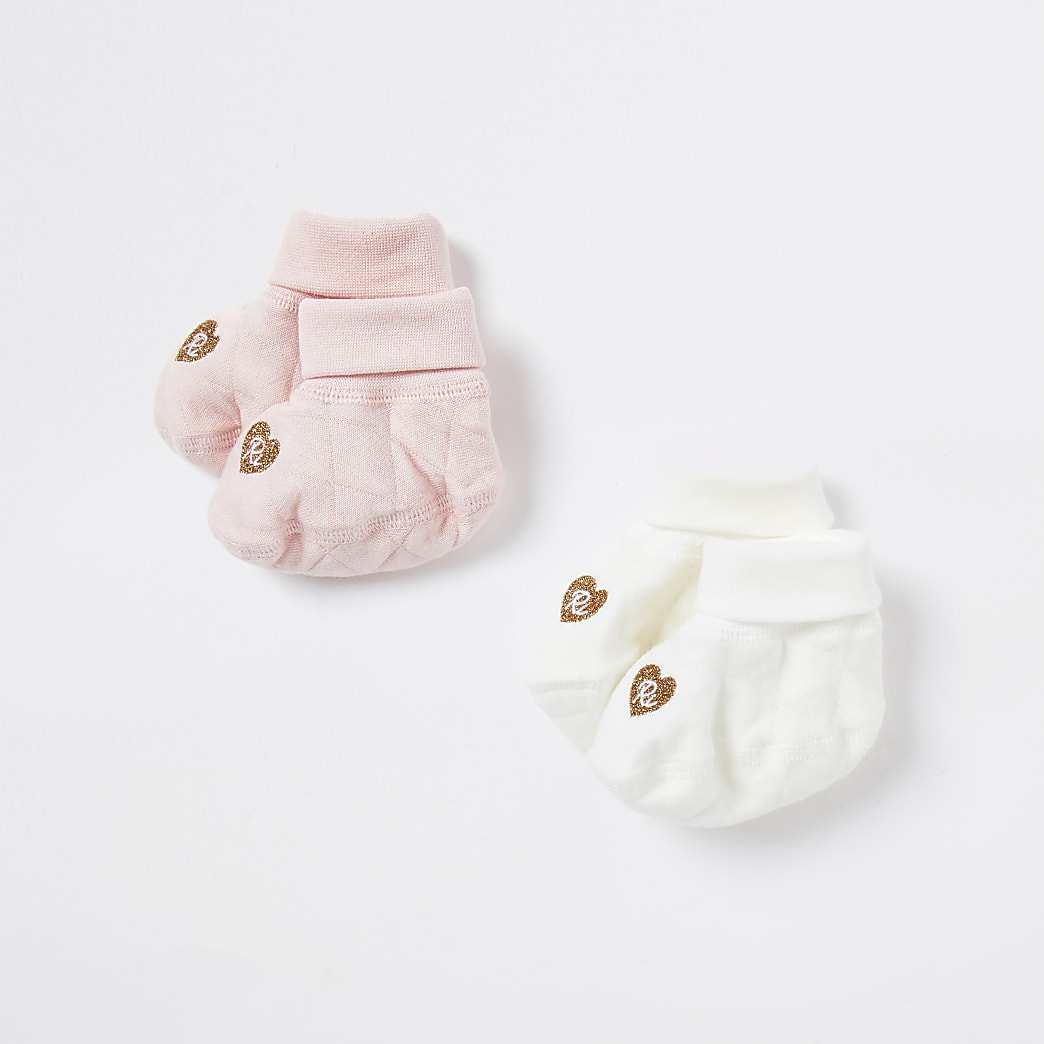 Baby pink booties 2 pack