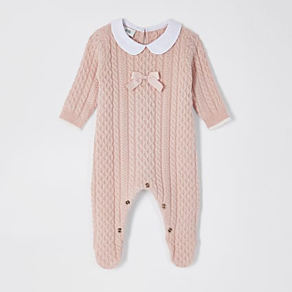 Baby pink bow collar cable knit baby grow