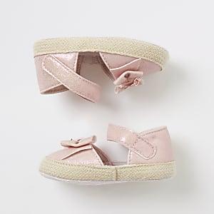 Roze espadrillesandalen met strik voor baby's