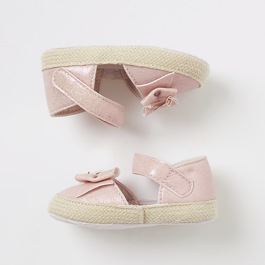Baby pink bow espadrille sandals
