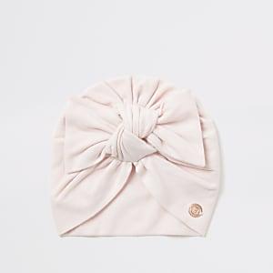 Roze tulband muts met strik voor van jersey stof voor baby's