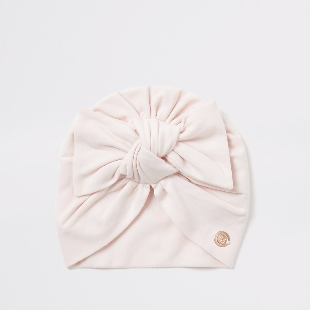 Baby pink bow front jersey turban hat