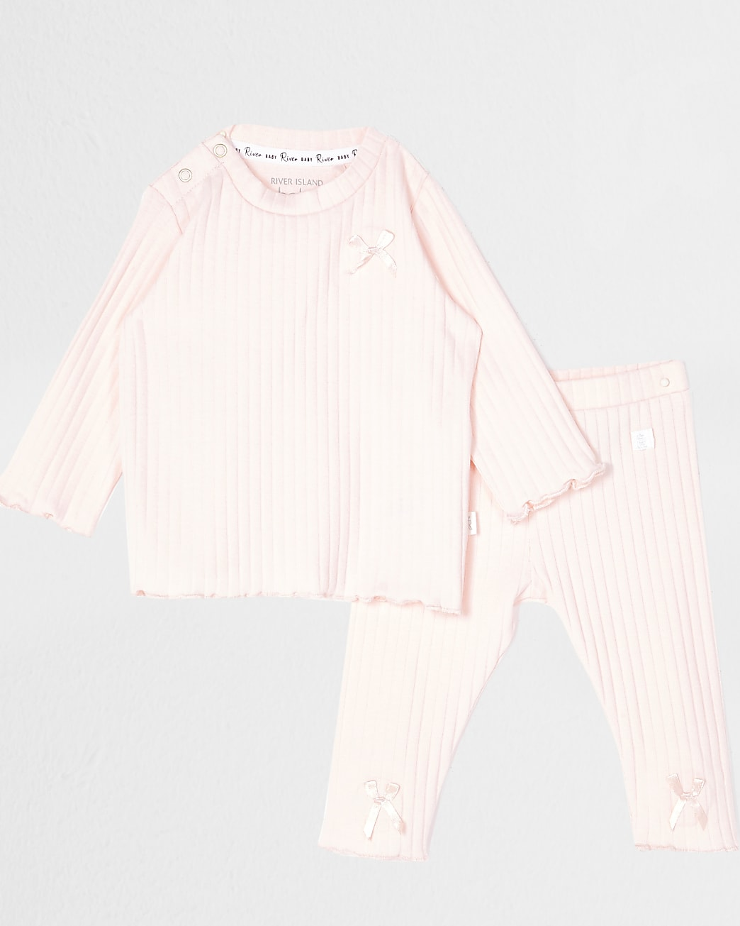 Baby pink bow ribbed legging outfit