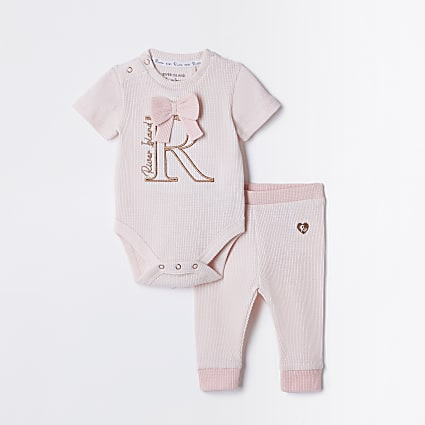 Baby pink bow waffle Baby grow outfit