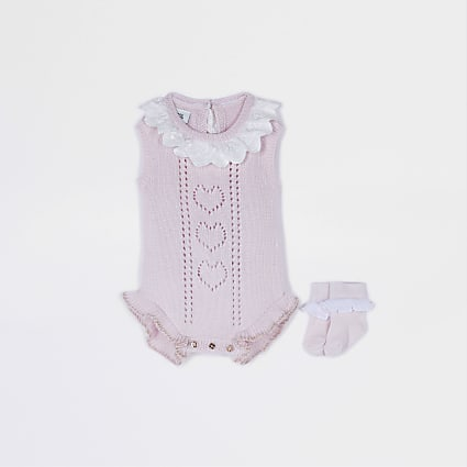Baby pink broderie collar babygrow
