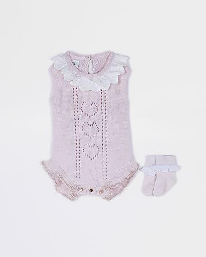 Baby pink broderie collar babygrow