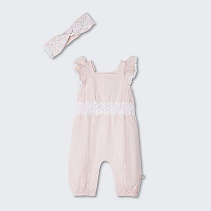 Baby pink broderie frill all in one