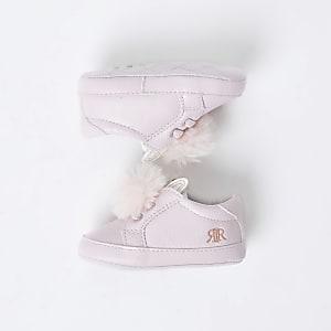 Baskets oreilles de lapinà pompons roses pour bébé