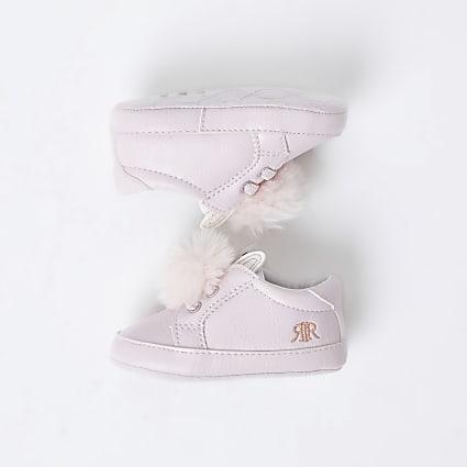 Baby pink bunny ear pom pom trainers