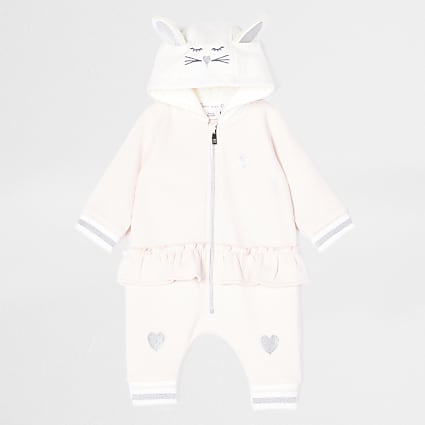 Baby pink bunny hooded all in one
