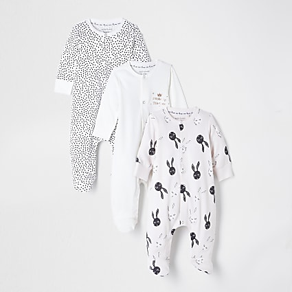 Baby pink bunny sleepsuits 3 pack