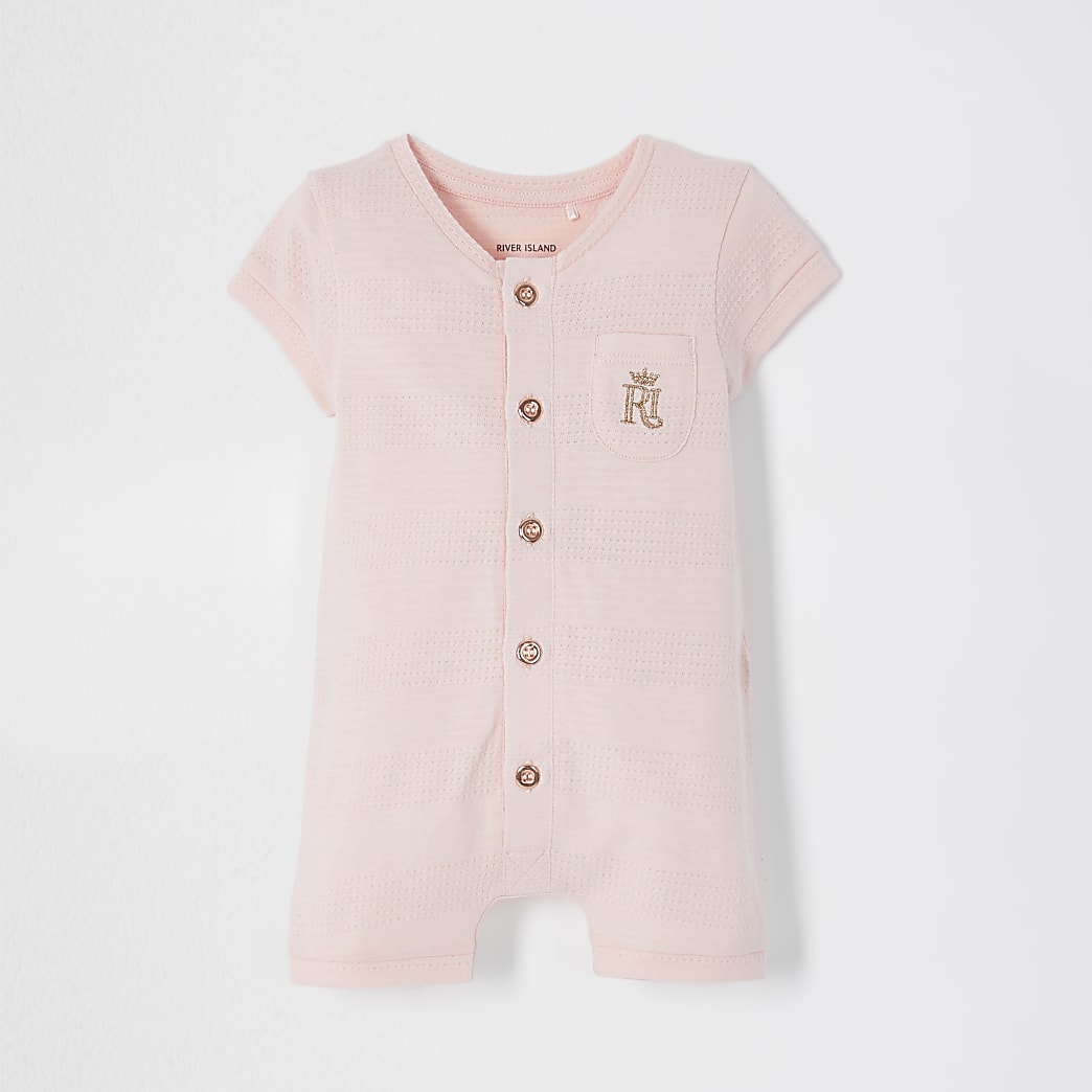 Baby pink button romper