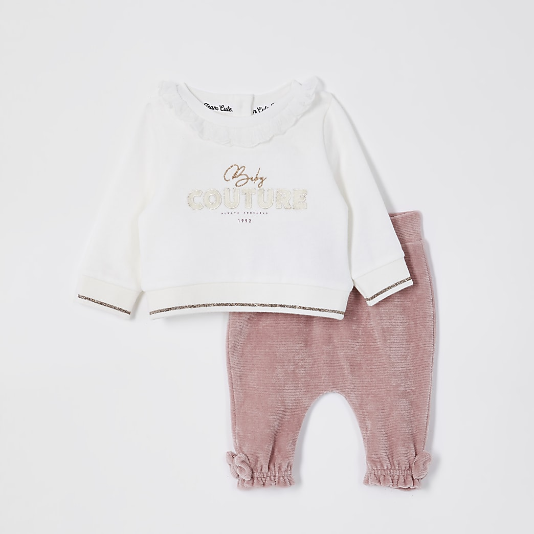 Baby pink 'Couture' sweat outfit