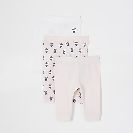 Baby pink crown leggings 3 pack