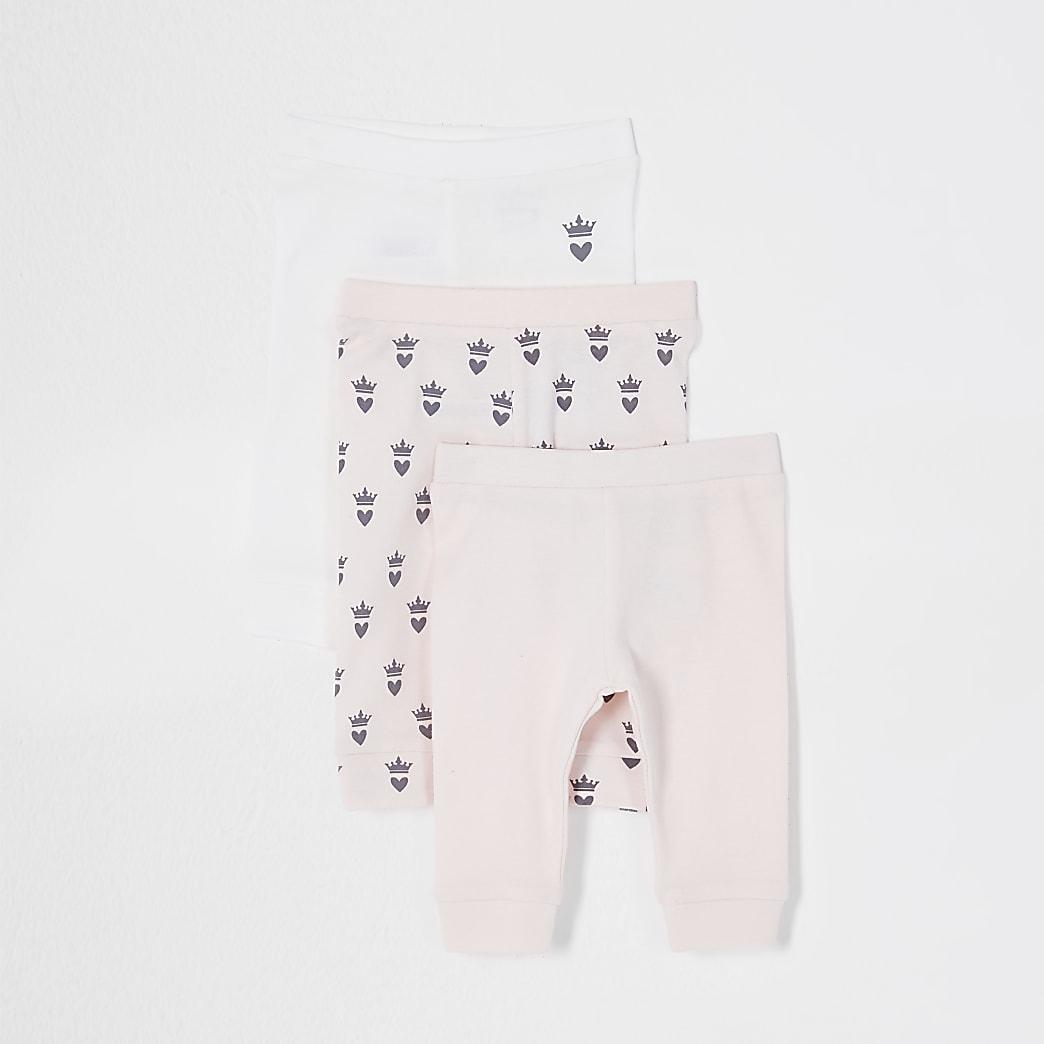 Baby pink crown leggings 3 pack