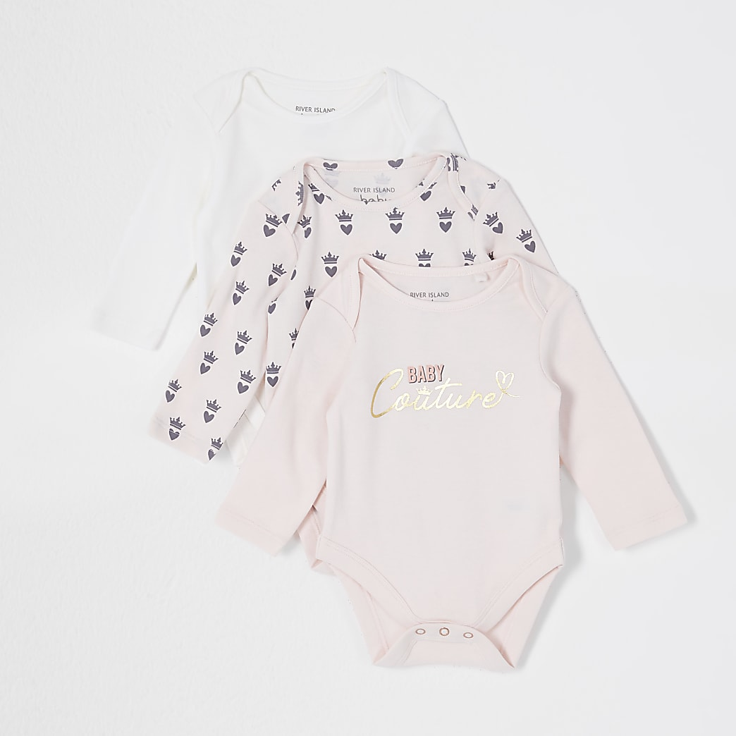 Baby pink crown print babygrows 3 pack