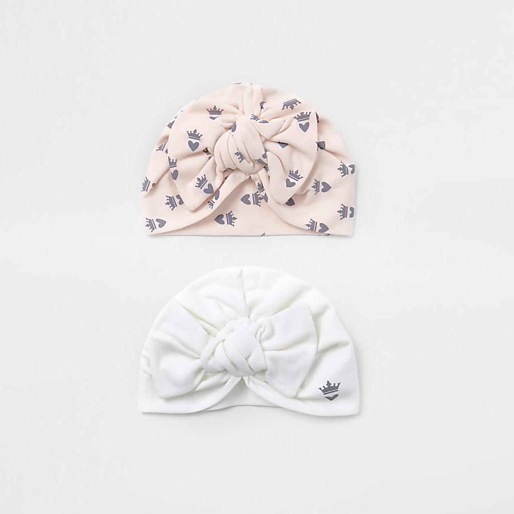 Baby pink crown print turban hats 2 pack