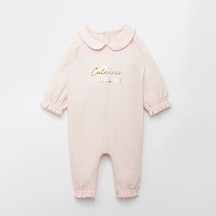 Baby pink 'Cuteness overload' baby grow