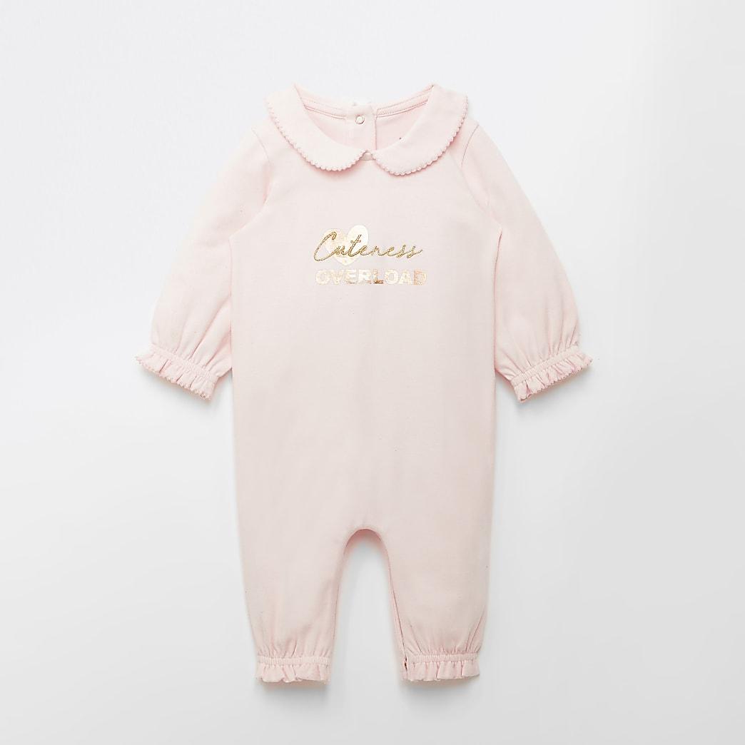 Baby pink 'Cuteness overload' baby grow