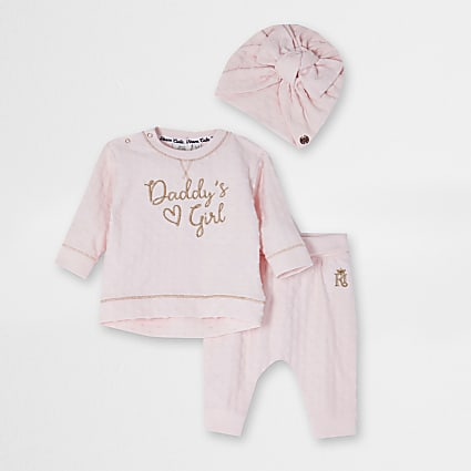 Baby pink 'Daddys girl' turban outfit
