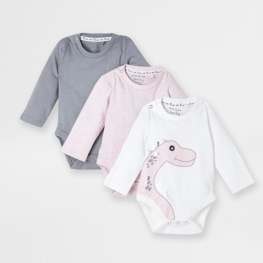 Baby pink dino baby grows 3 pack