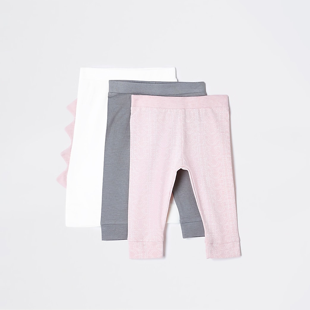Baby pink dino leggings 3 pack