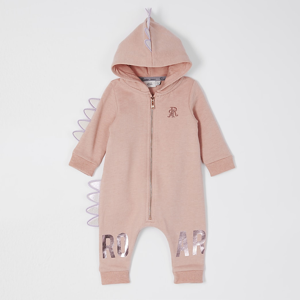 Baby pink dinosaur all in one