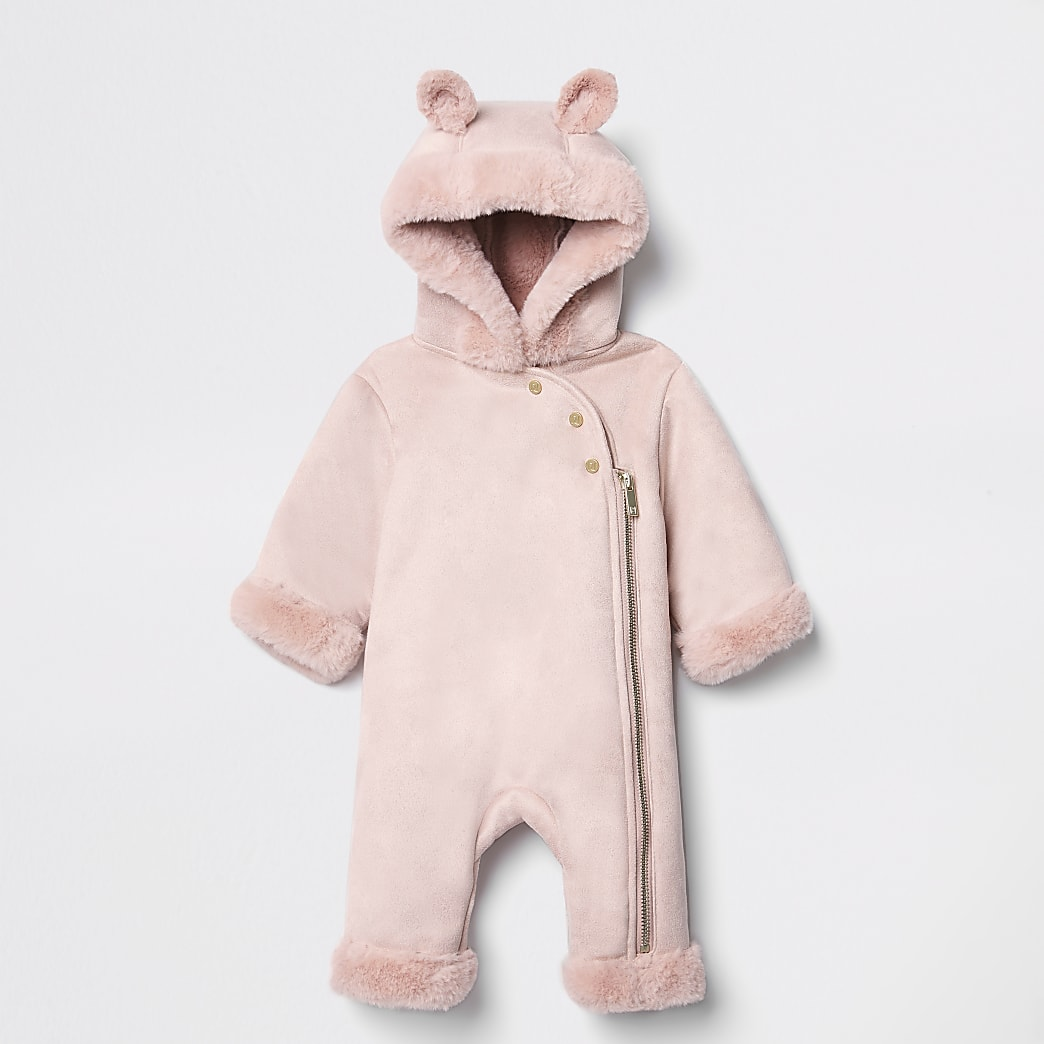 Baby pink faux fur hooded snowsuit