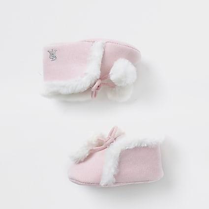 Baby pink faux fur pom pom bootie