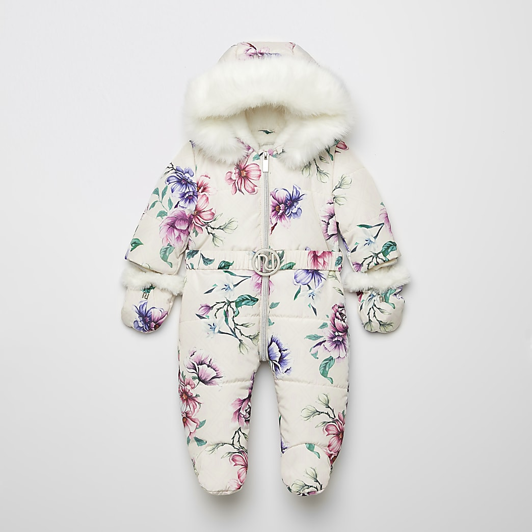 Baby pink floral belted padded snowsuit