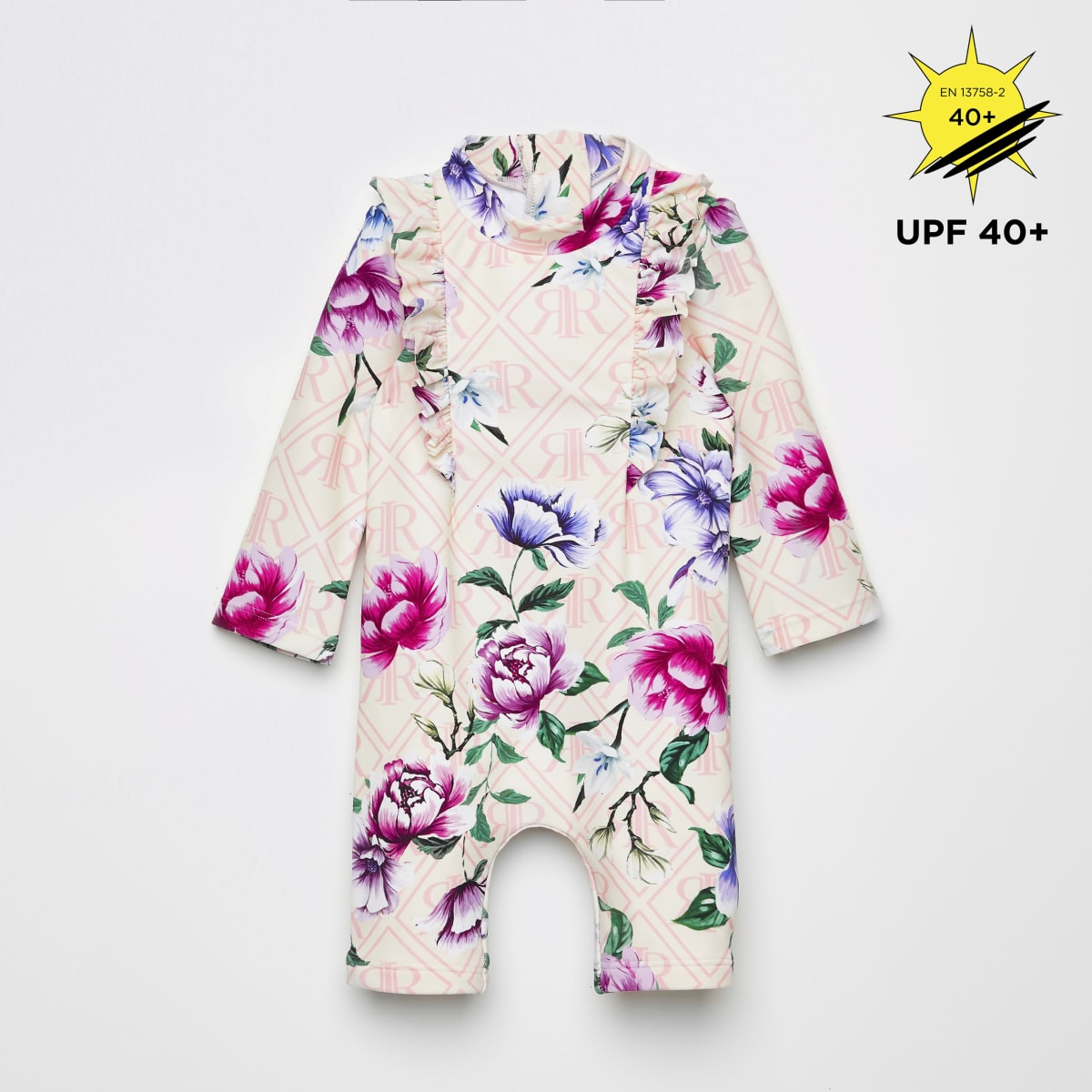Baby pink floral sunsafe all in one swimsuit