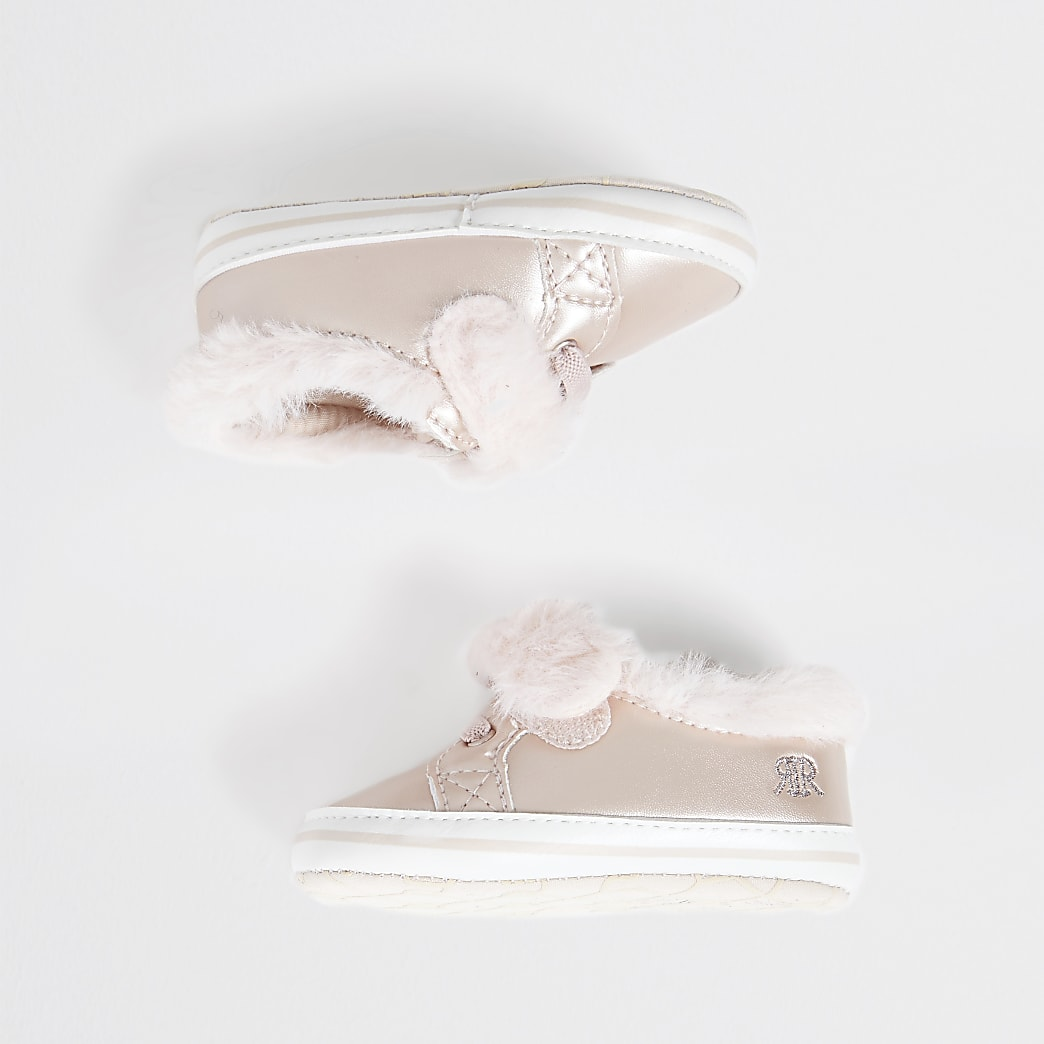 Baby pink fluffy trainers