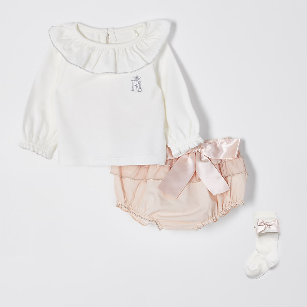 Baby pink frill bloomer 3 piece outfit