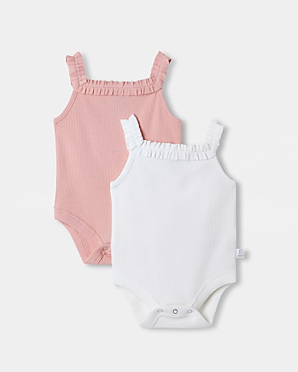 Baby pink frill detail babygrow 2 pack