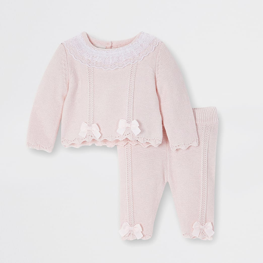Baby pink frill neck jumper outfit