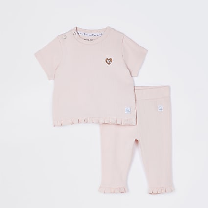 Baby pink frill ribbed 2 piece outfit