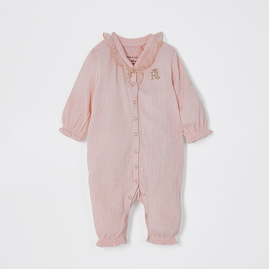 Baby pink frill textured all in one