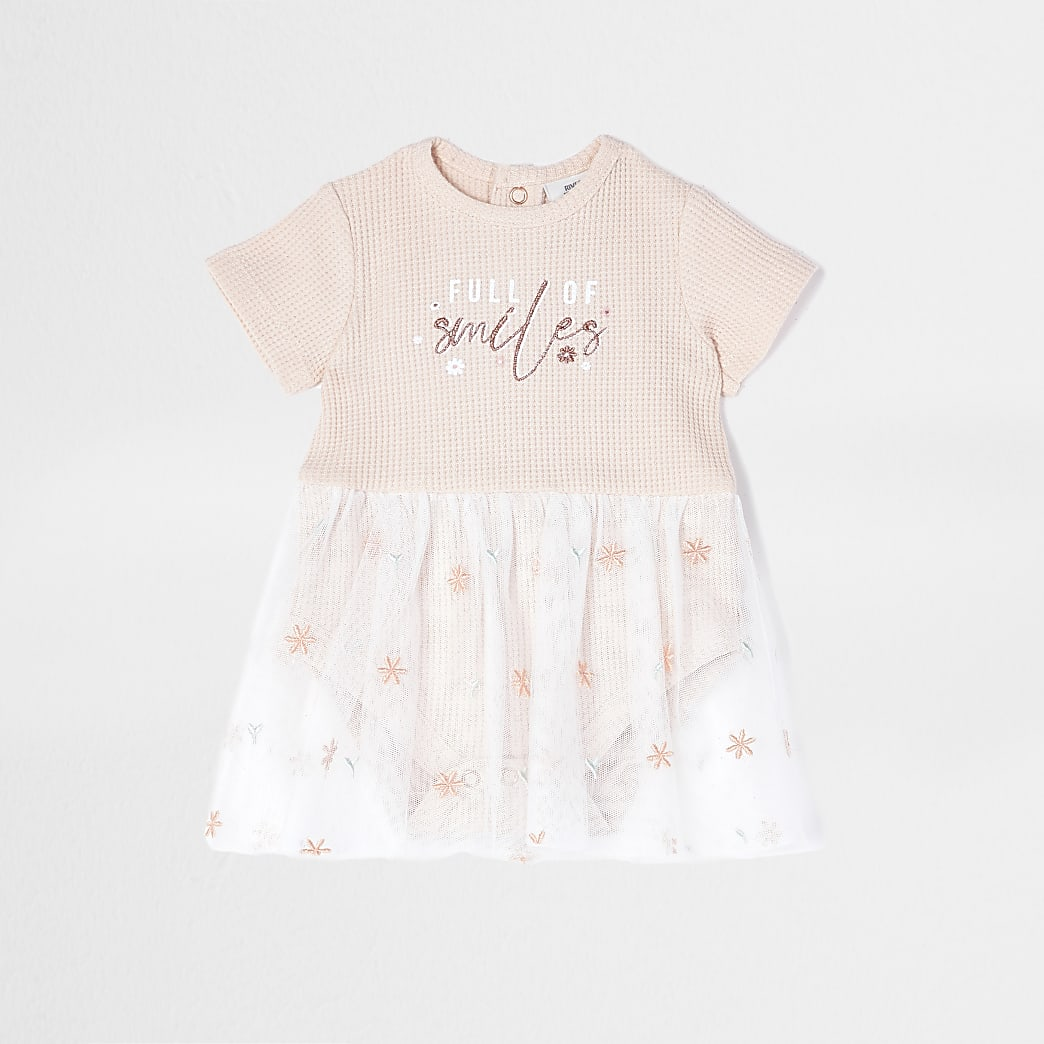 Baby pink 'Full of Smiles' mesh babygrow