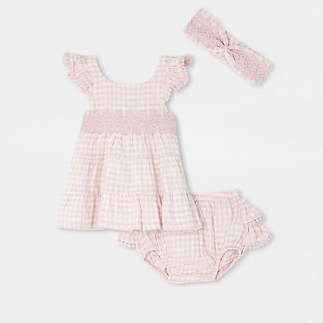 Baby pink gingham smock dress and bloomer set