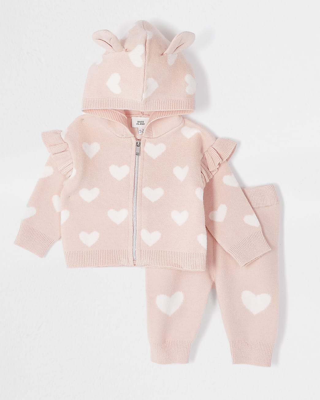 Baby pink heart knit cardigan outfit