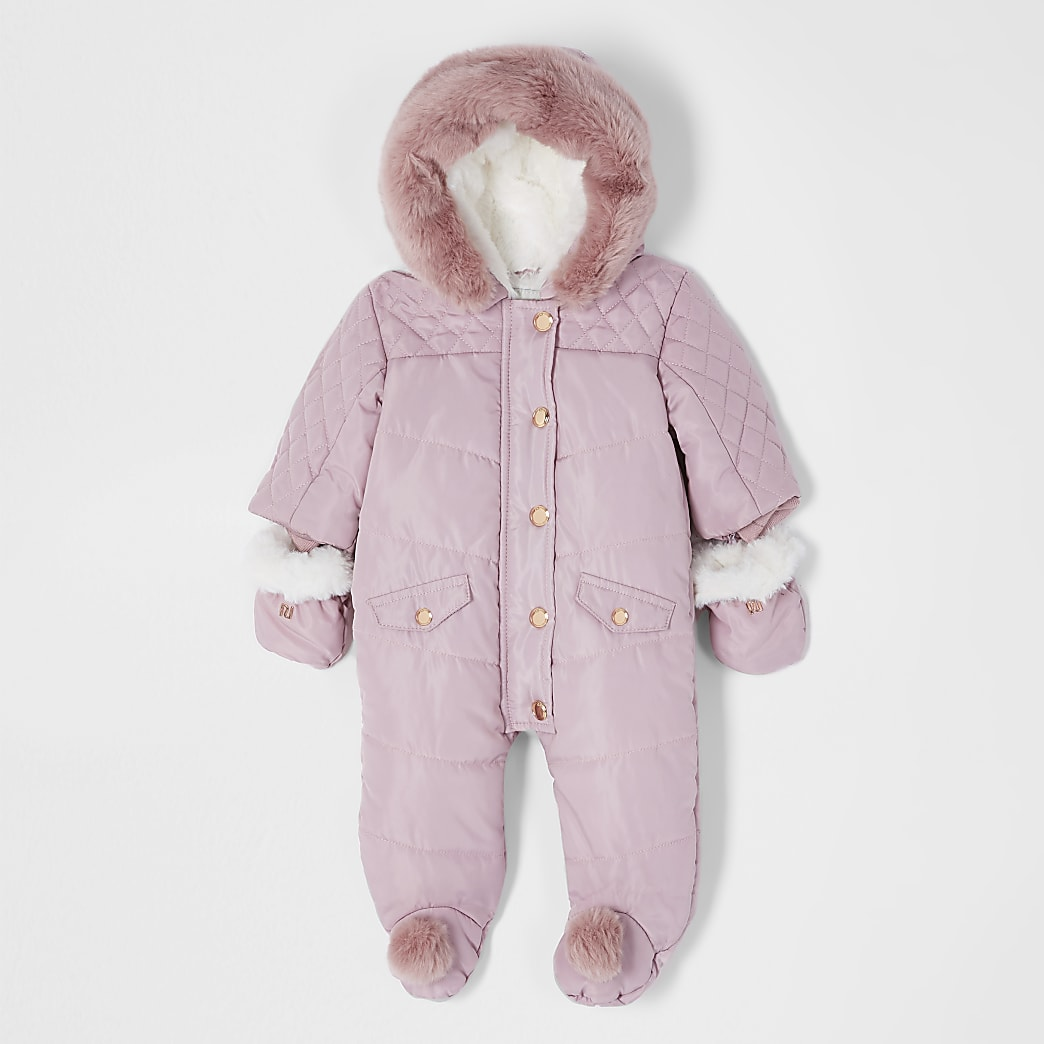 Baby pink hooded pom snowsuit