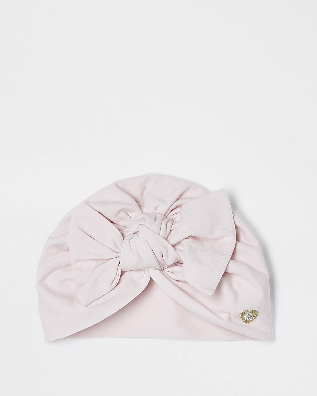 Baby pink jersey bow turban hat