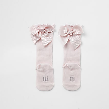 Baby pink knee high bow socks