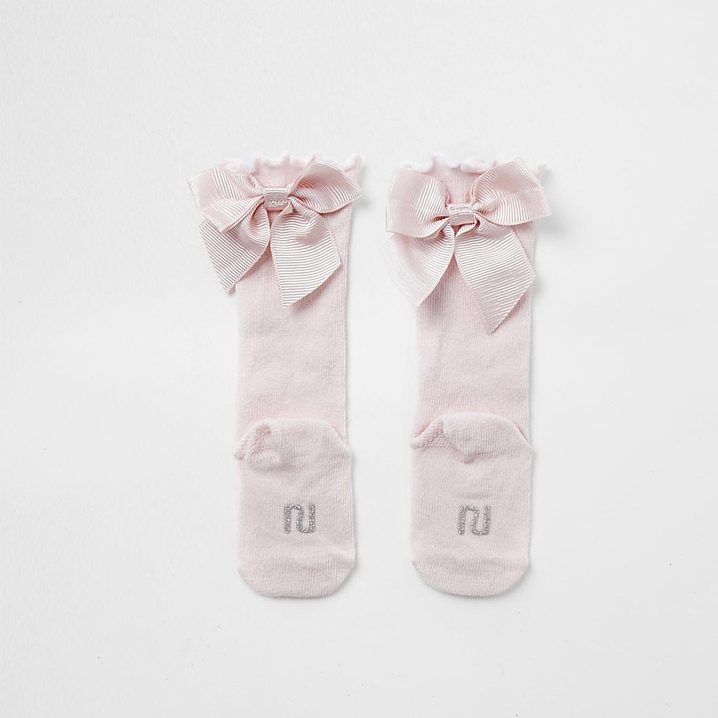 Baby pink knee high bow socks