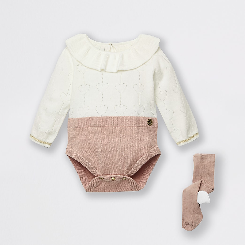 Baby pink knit baby grow and tights set