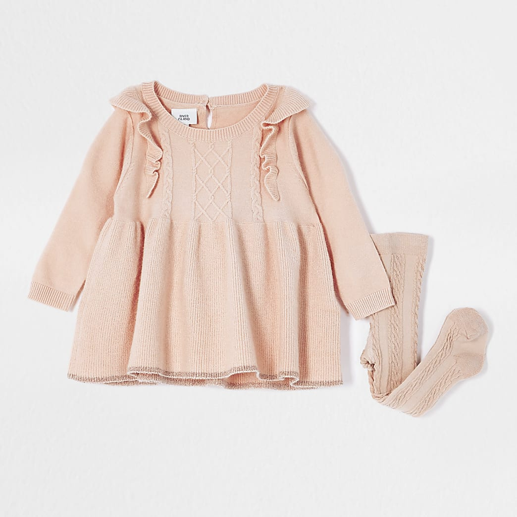 Baby pink knit frill dress and socks outfit