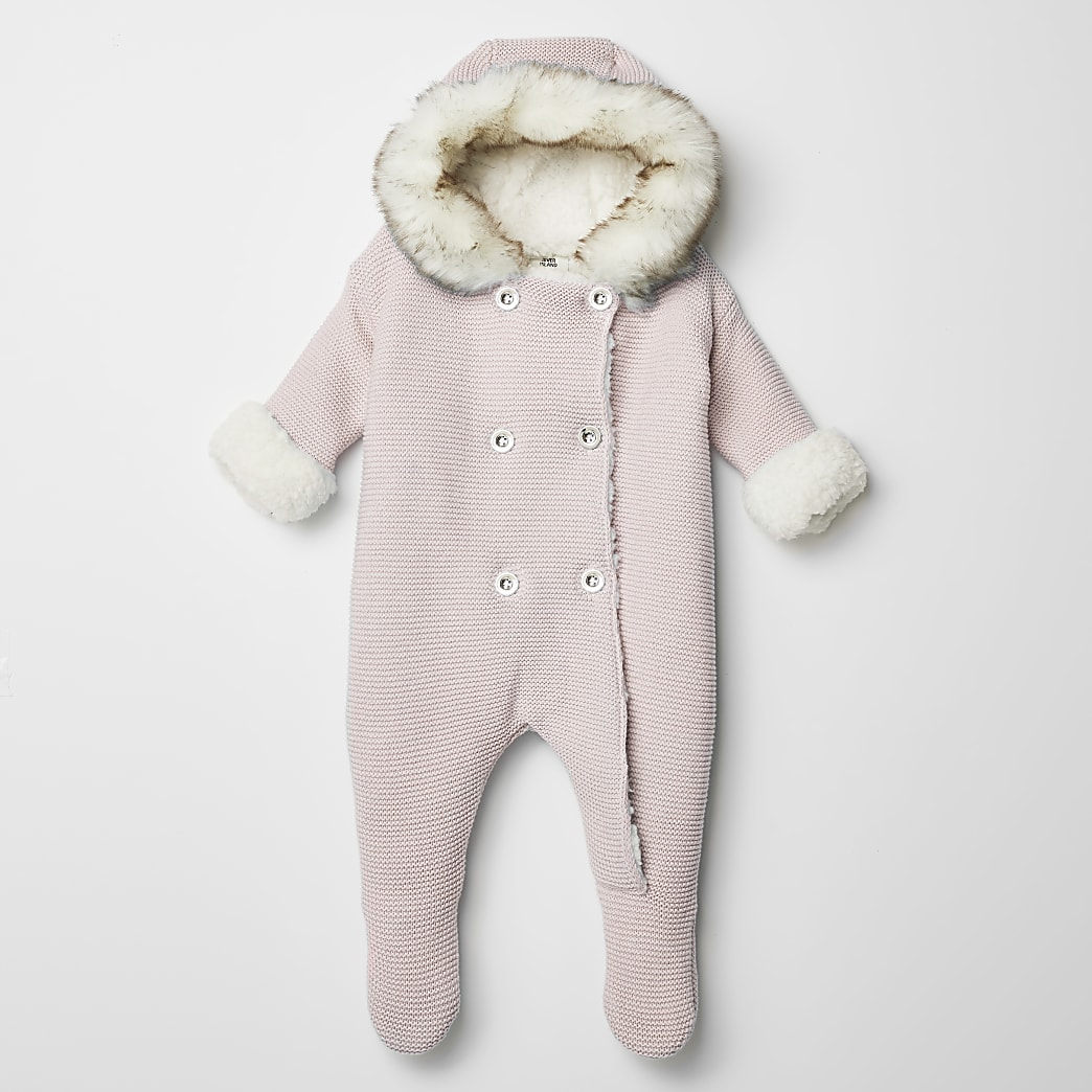 Baby pink knitted faux fur hood all in one